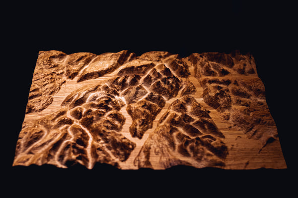 Arrochar Alps, Loch Lomond Full Hardwood Topographic Carved Map