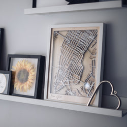 framed wood map
