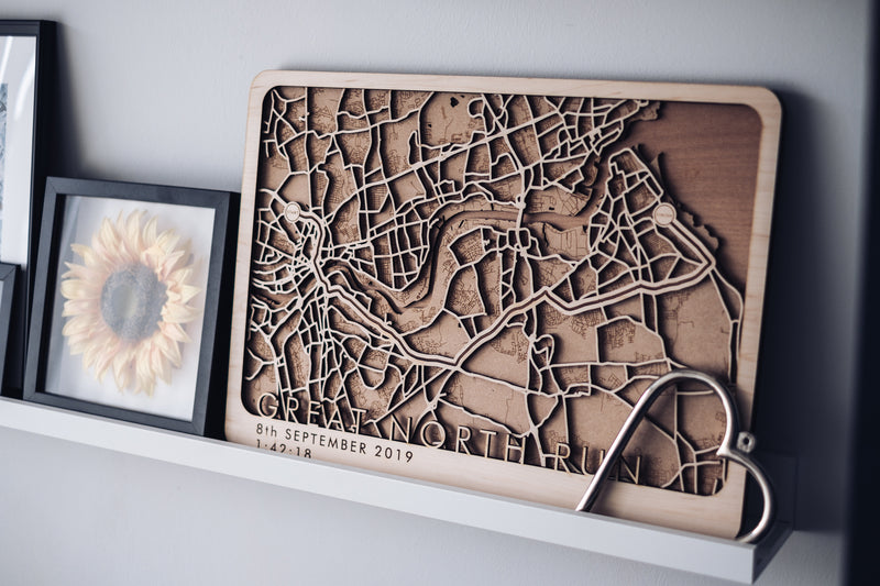 Great North run wood map