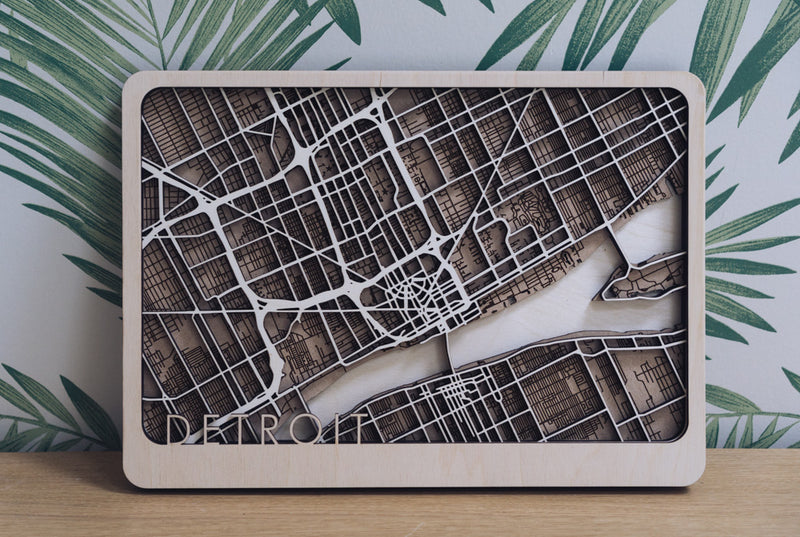 Detroit Laser Cut Map