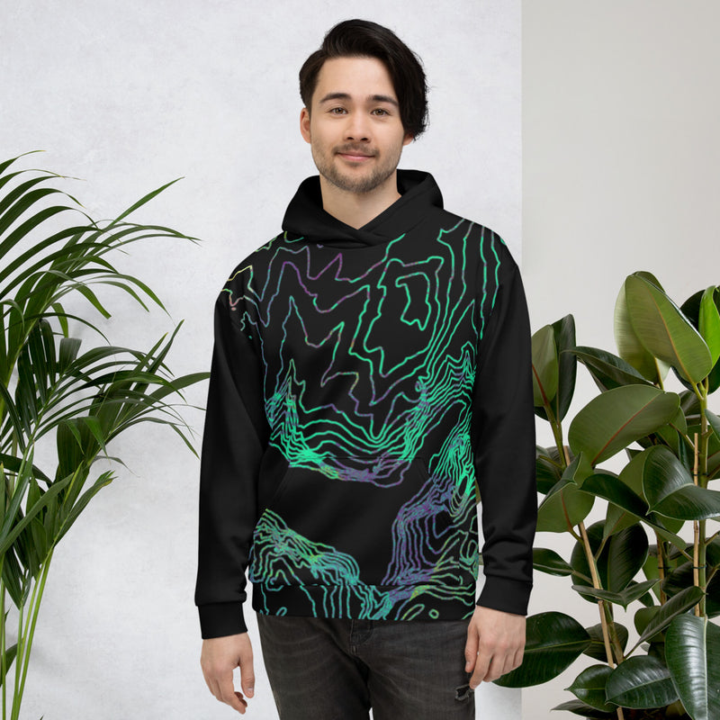 Custom Location All-Over Print Hoody. Topographic Design. Unisex