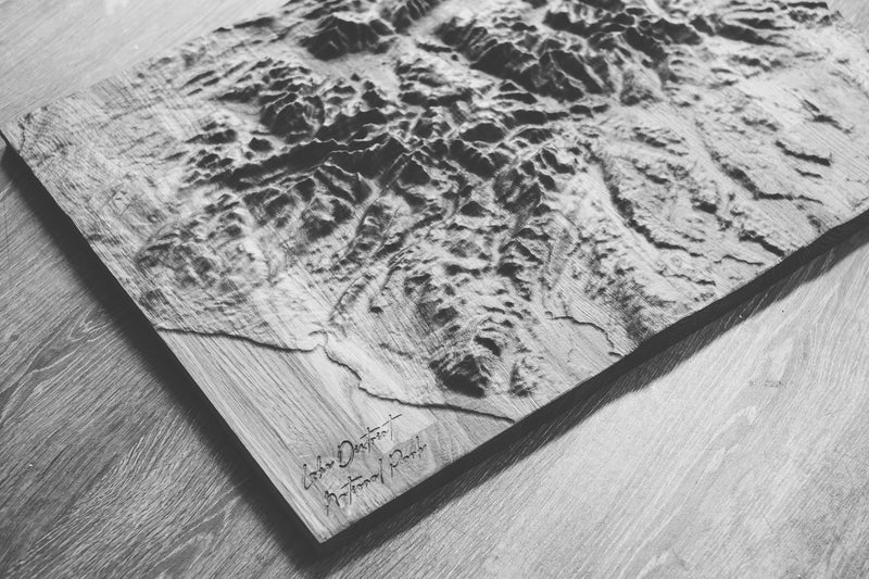 Lake District Full Hardwood Topographic Carved Map