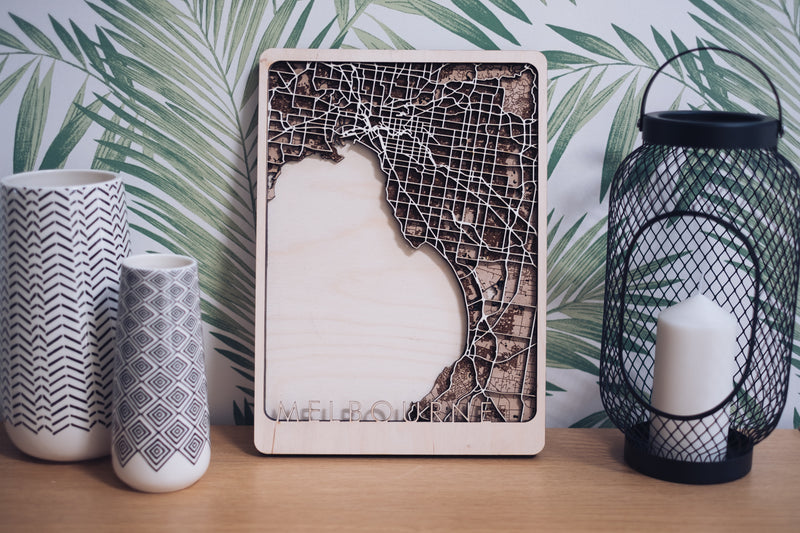 Melbourne Laser Cut Map