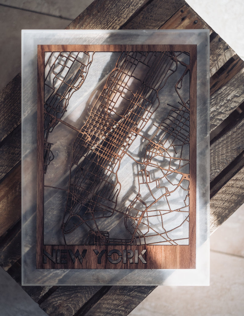 New York City Map Resin Encased.