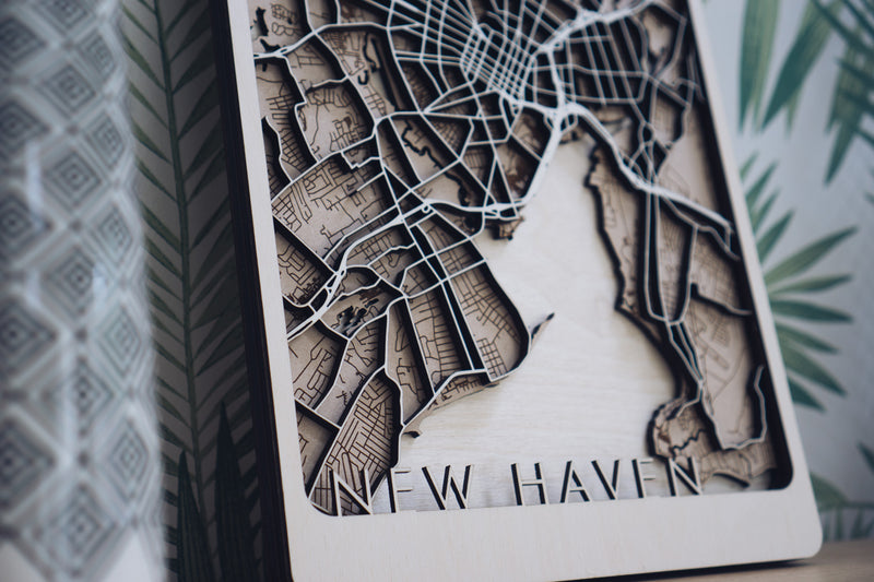 New Haven Laser Cut Map