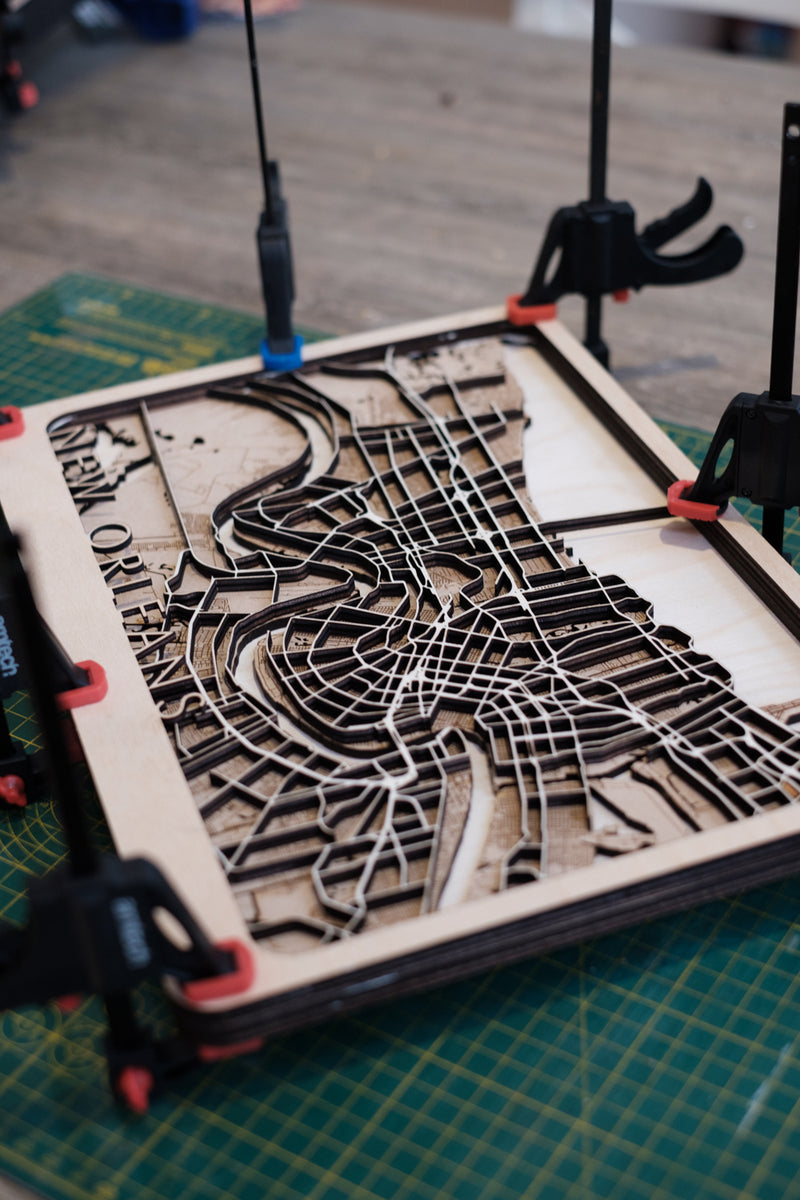 New Haven Laser Cut Wood Map