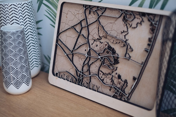Ocean city florida wood map