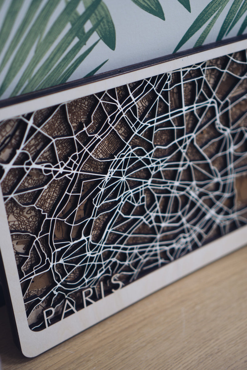 Paris laser cut wood map