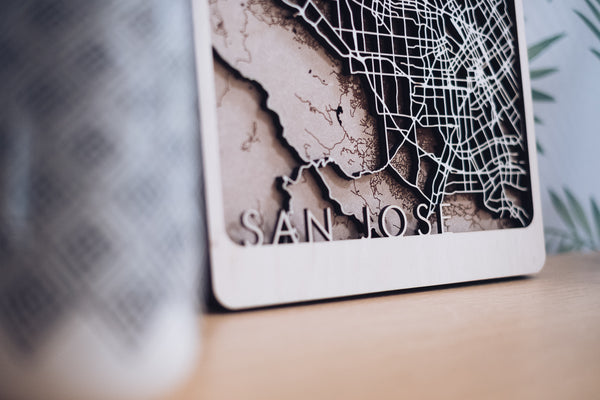 san jose laser cut map