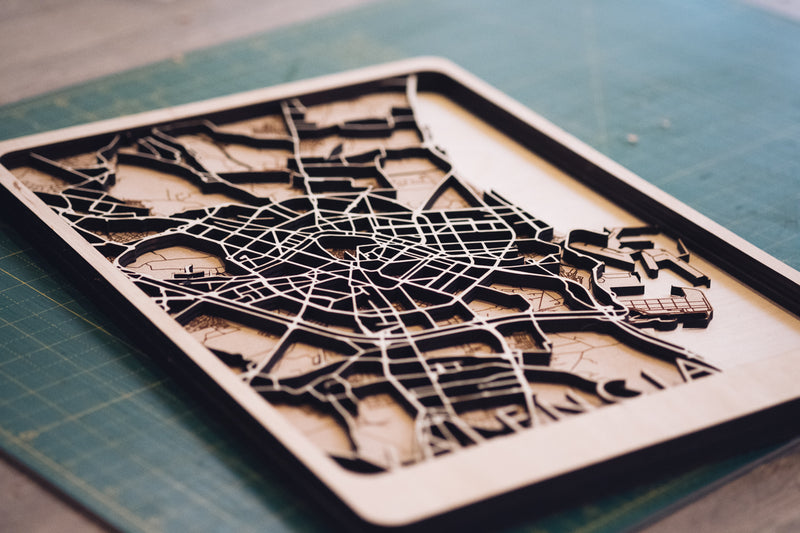 Valencia laser cut map
