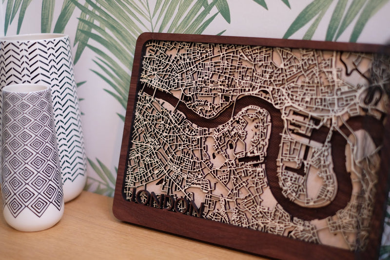 Boston Laser cut Wood Map