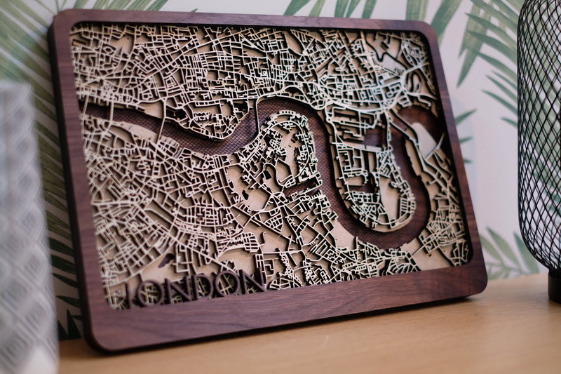 Barcelona Laser Cut Wood Map