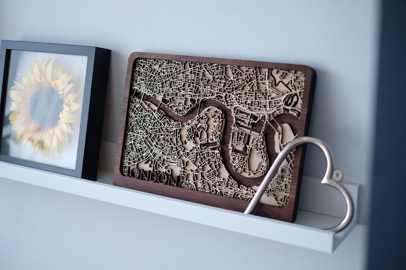 London Laser cut Wood Maps