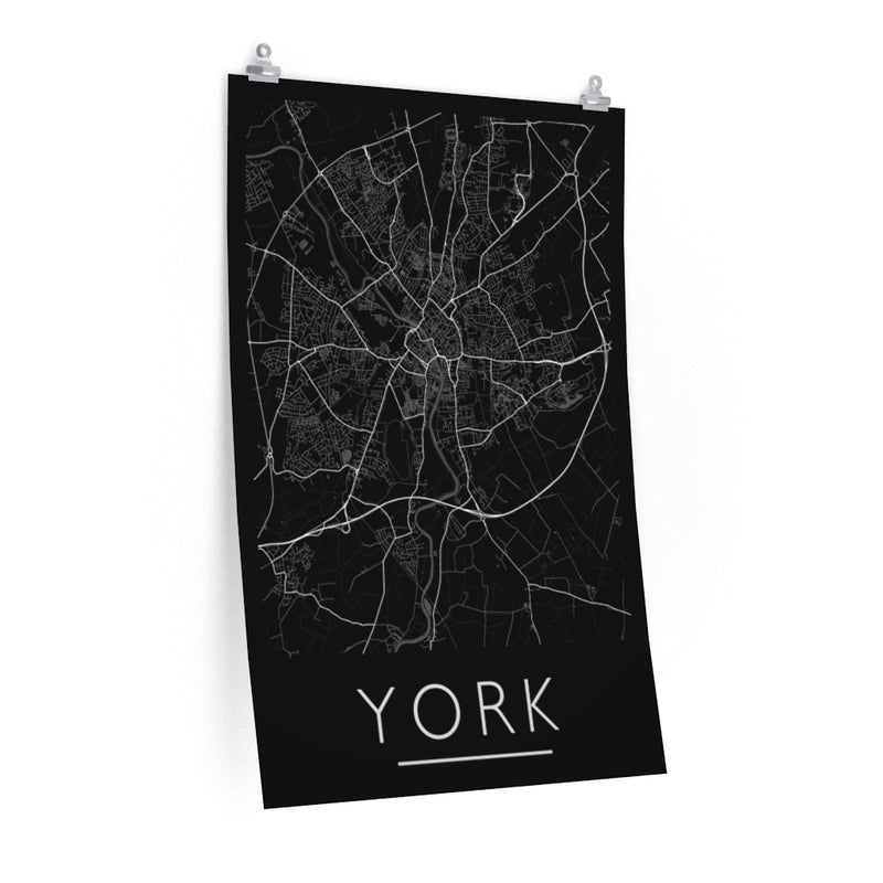 York Map Print. Unframed. Mono Style