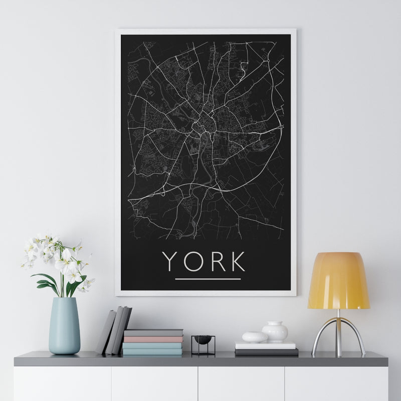 York Map Print. Framed. Mono Style