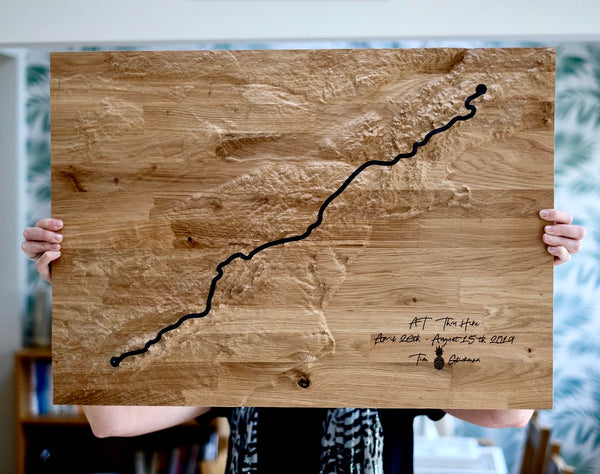 Appalachian Trail Topographic Carved Map