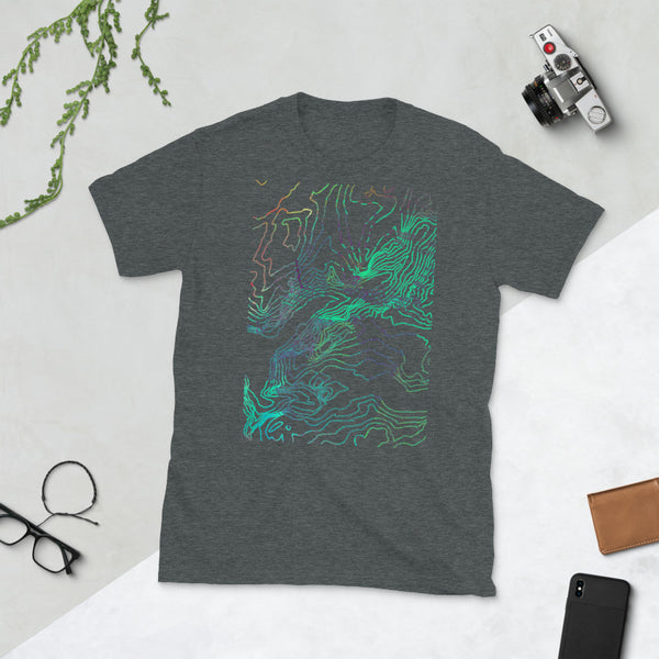 Custom Cartographic Unisex T-Shirt. Topographic Design