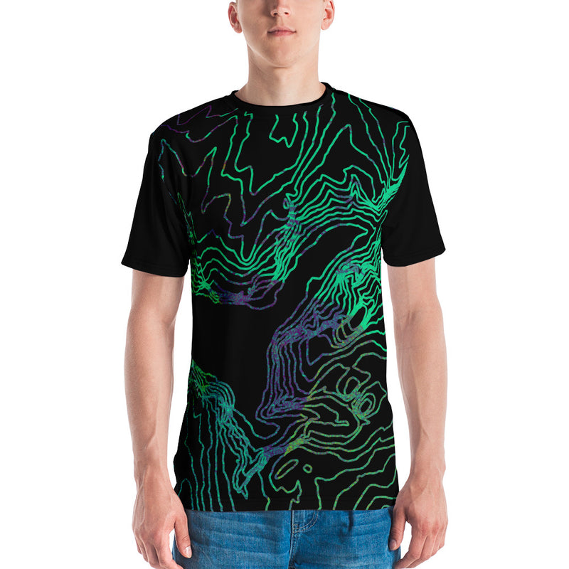 Custom Cartographic All-Over Print Tee Shirt. Mens. Topographic Design