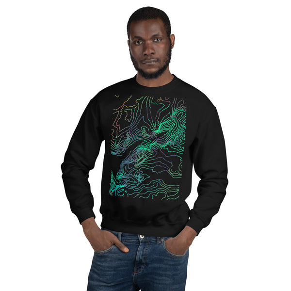 Custom Cartographic Unisex Sweatshirt. Topographic Design