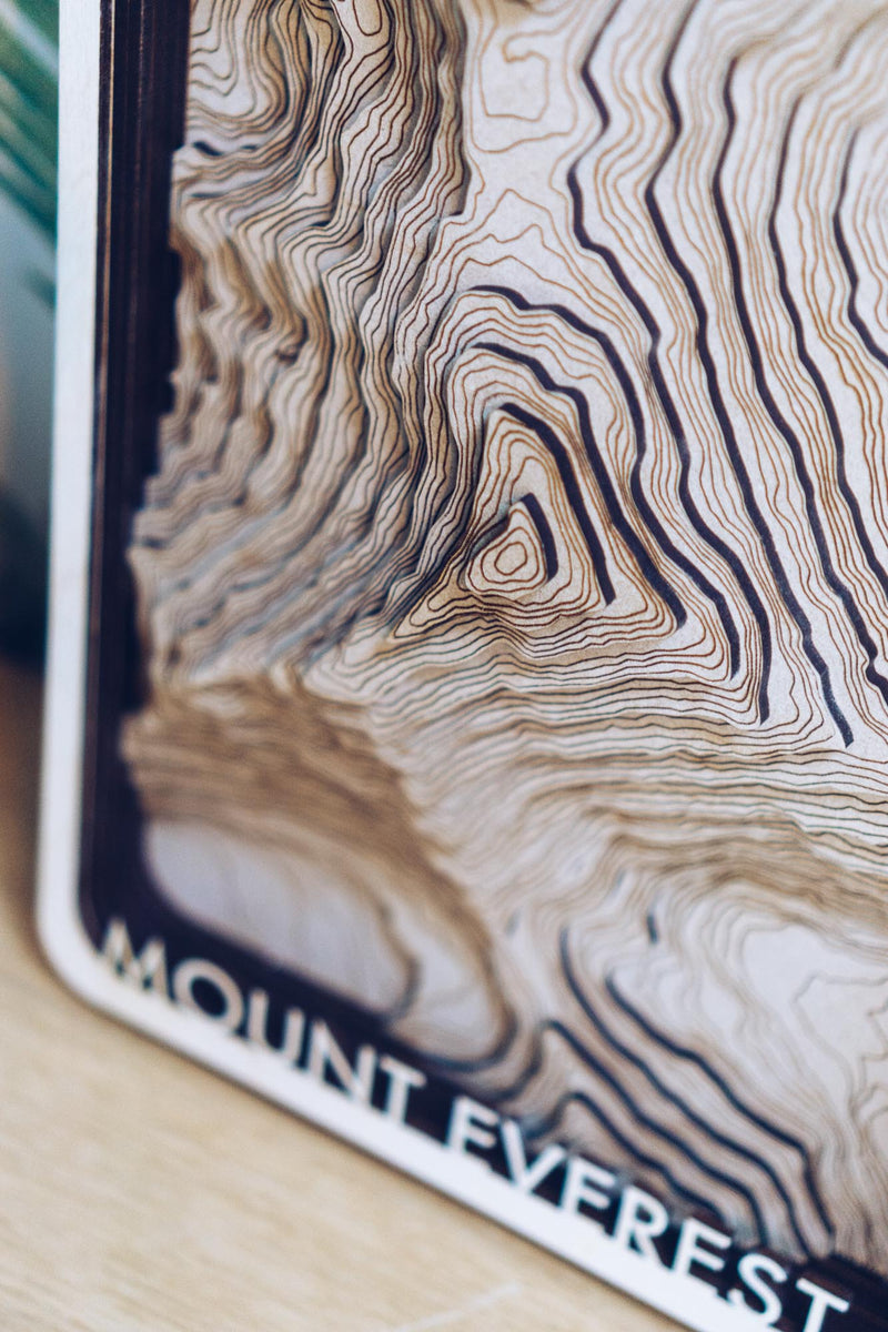 Mount Everest Wood Map