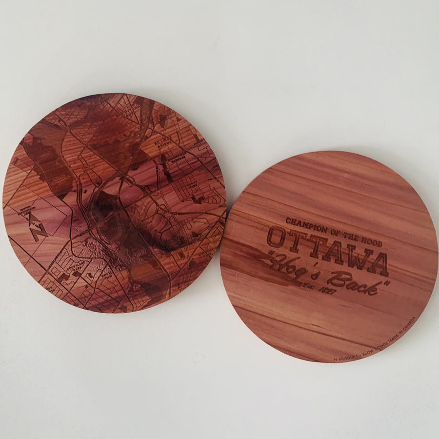 image of coasters side by side showing front of coaster and back of coaster on a white background