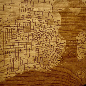 Laser Etched Downtown Kingston Map