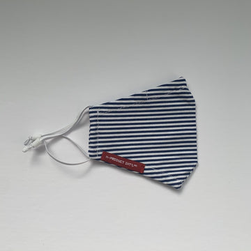 image of blue and white striped mask folded on a white background.