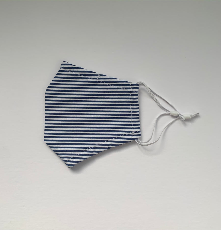 Face Covering Navy x White Striped