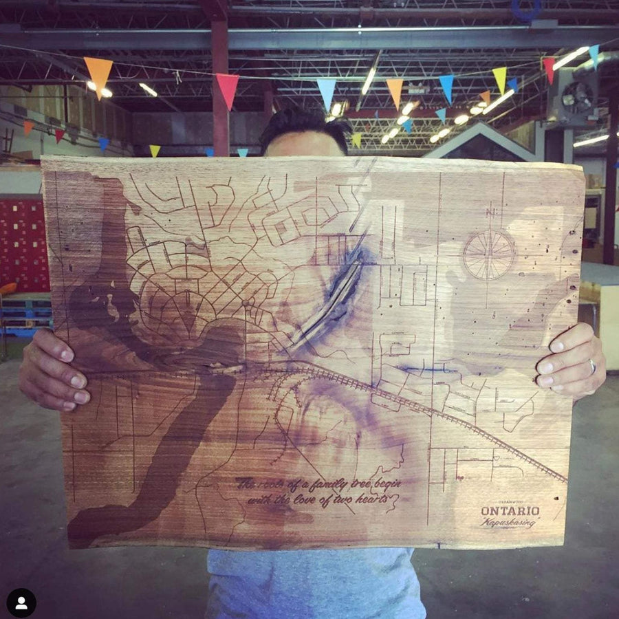 image of laser etched live edge wood map.