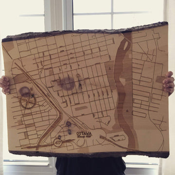 image of reclaimed live edge map. laser etched map with tag ottawa sandy hill.