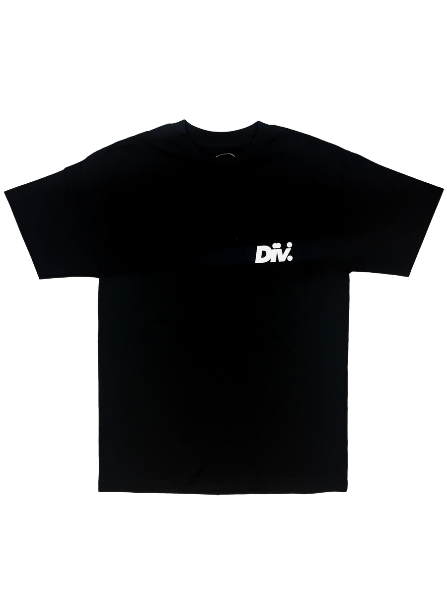 black pocket tee shirt with white lettering screen printed on pocket div.