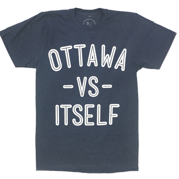 heather navy colored tee shirt with the words ottawa vs itself in white and bold
