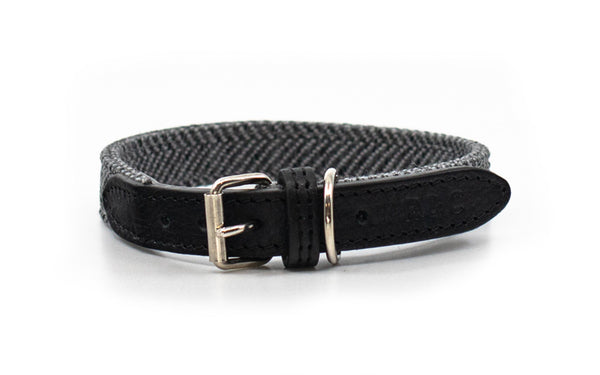 Herringbone & Leather Dog Collar - Balmoral