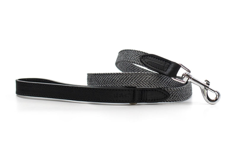 Herringbone & Leather Dog Lead - Balmoral
