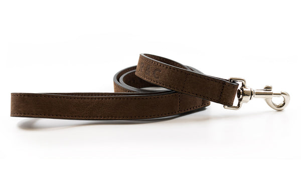 Leather dog collar in brown nubuck top-grain cattle leather