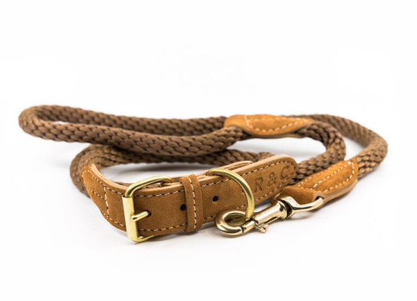 Braided Rope Dog Collar - Olive Brown