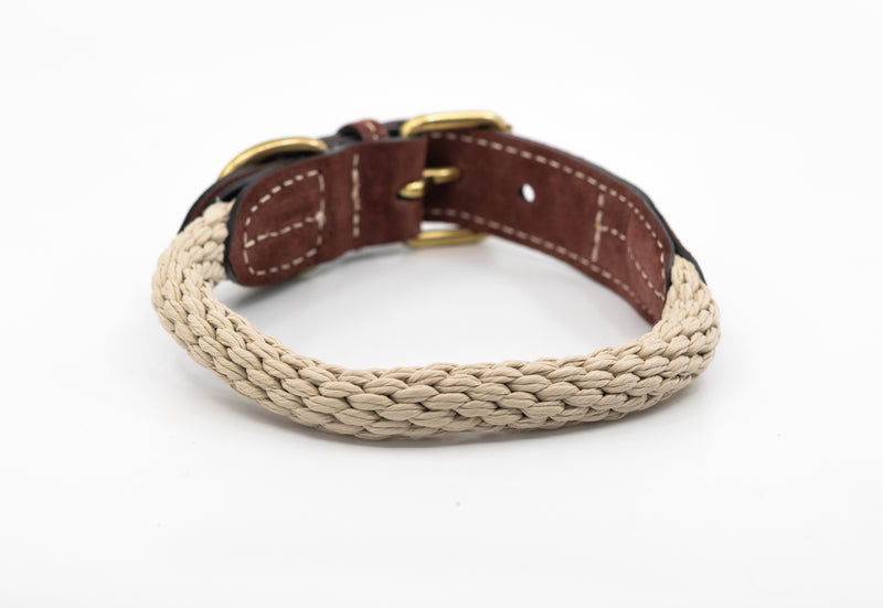 Braided Rope Dog Collar - Natural Ivory