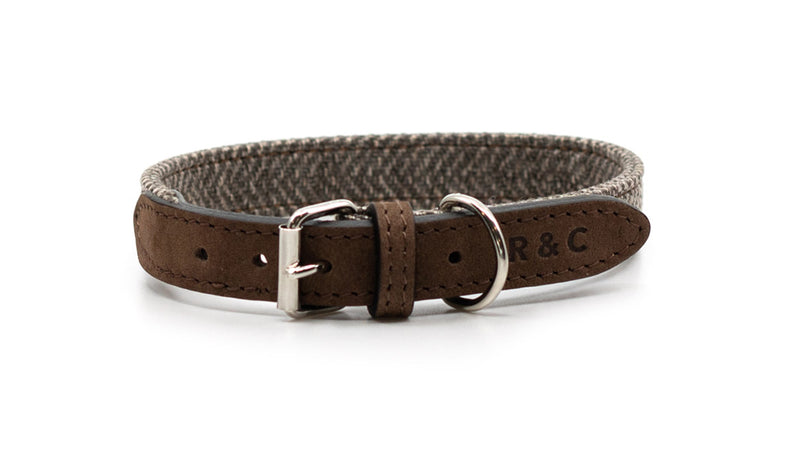 Herringbone & Nubuck Leather Dog Collar - Lincoln