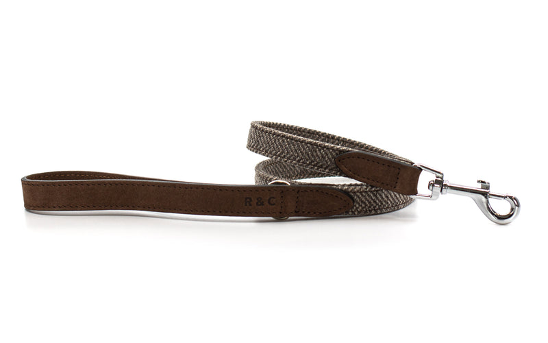 Herringbone & Nubuck Leather Dog Lead - Lincoln