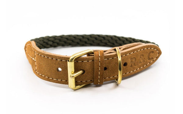 Ralph and Co Braided Rope Dog Collar - Khaki Green