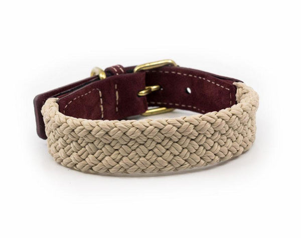 Ralph and Co Flat Rope Dog Collar - Burgundy