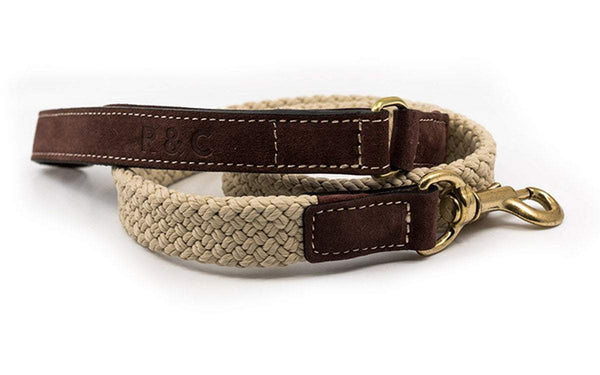 Ralph and Co Flat Rope Dog Lead - Olive brown