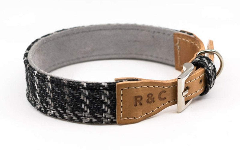 Ralph and Co Tweed & Leather Dog Collar - Ascot 35: Neck - 25-31cm