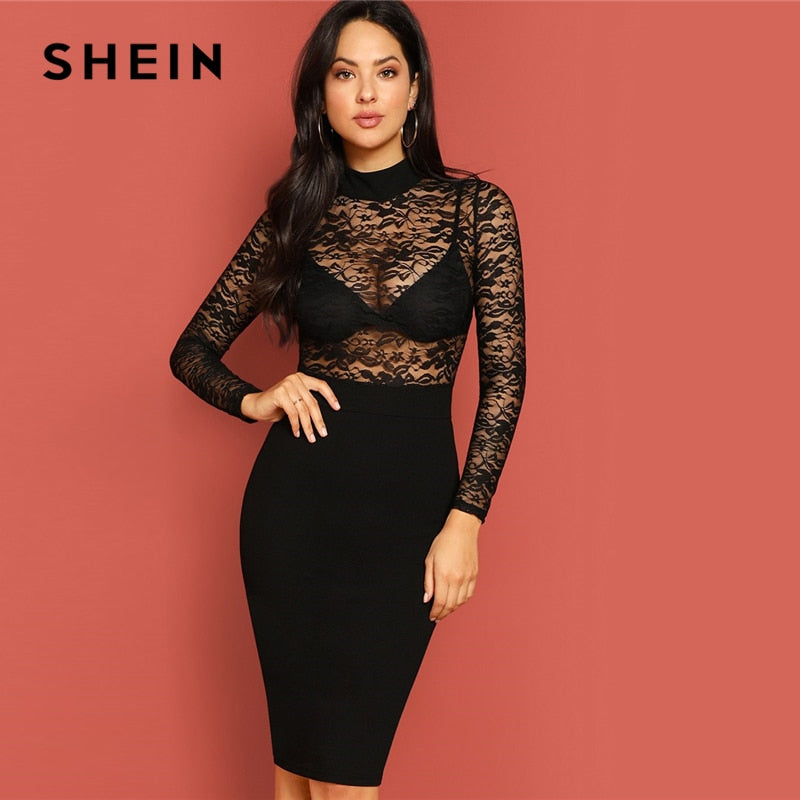 d32fb35fc4 Load image into Gallery viewer, SHEIN Sexy Black Mock Neck Lace Bodice  Split Hem Sheath ...