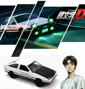 (60% OFF today!)KMT 1:18 Initial D Toyota AE86 Alloy Diecast Car Model (Black Hood+White)