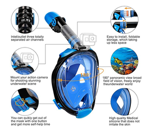 (Factory Outlet- 60% OFF today!) Full Face Snorkel Mask, , Panoramic 180° View Upgraded Dive Mask with Newest Breathing System, Dry Top Set Anti-Fog Anti-Leak