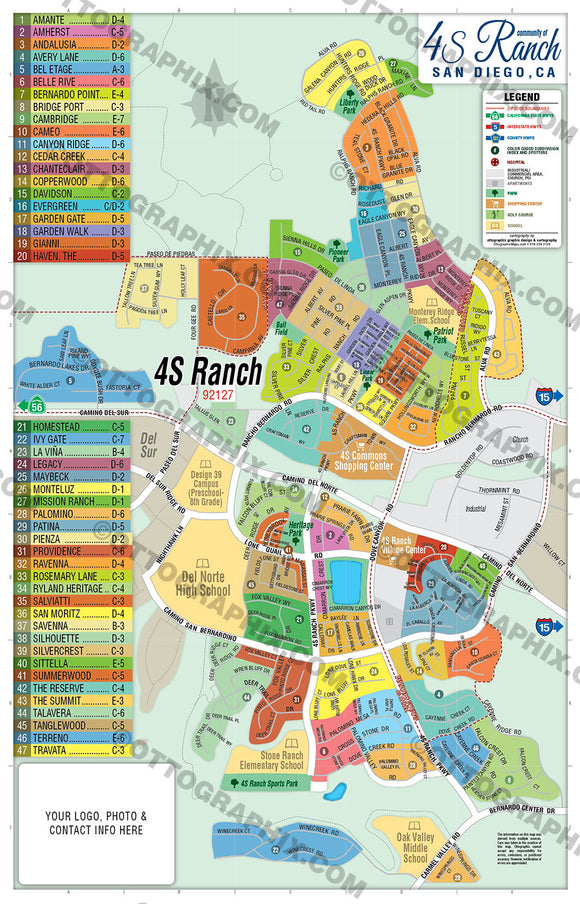 4S Ranch Map, San Diego County, CA
