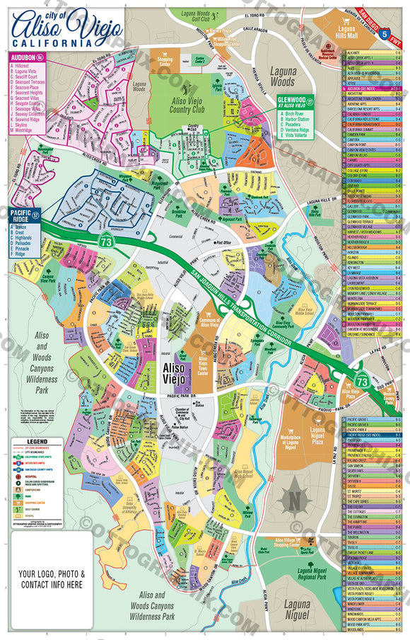Aliso Viejo Map - PDF, layered, royalty free