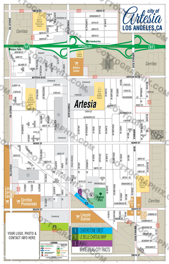 Artesia Map, Los Angeles County, CA