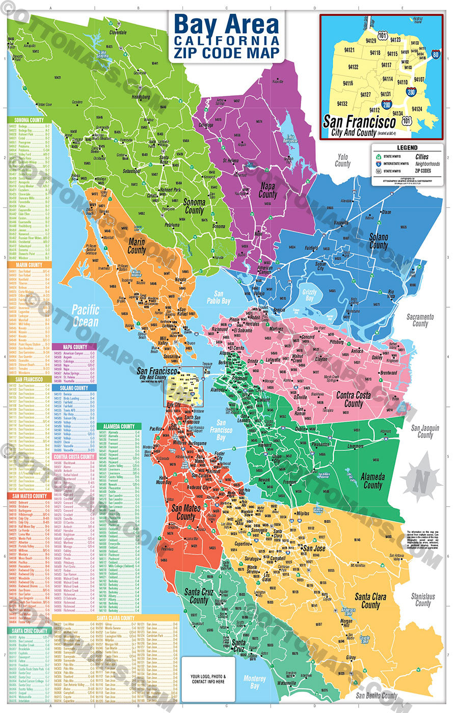 Bay Area Zip Code Map Counties Colorized Otto Maps